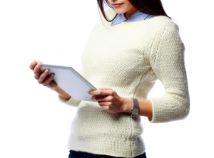 Women with tablet