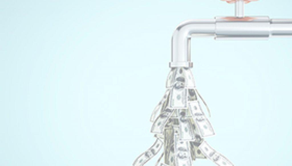 Water tap dripping dollar banknotes
